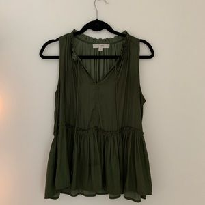 Loft olive green silky top!